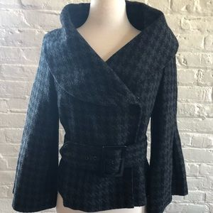 Houndstooth Black & Grey Coat with Bell Sleeves